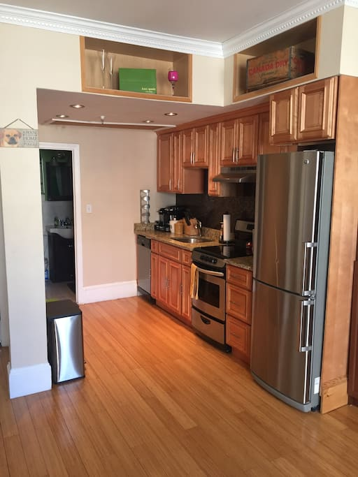 The kitchen is fully equipped with microwave, toaster oven, range, refrigerator, and dishwasher. Also, dishes, silverware, and pots/pans are available if you decide to cook any of your meals.