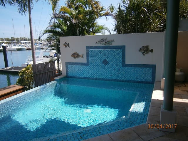 Relax in the saltwater pool