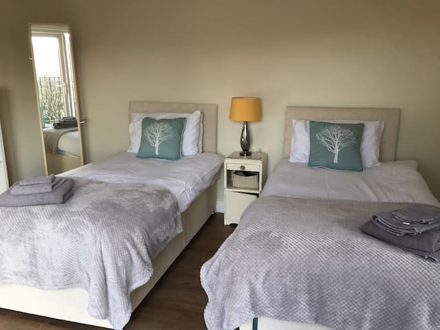 Superking size bed can be split to make twin beds if preferred
