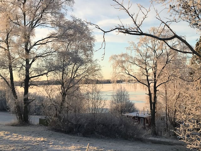 Winter scenery to the river from the terrace.