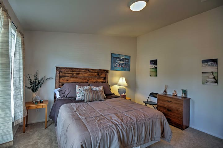 This queen bed is a great place to relax after a day on the lake.