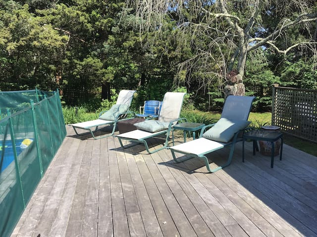 Deck and pool, safety fence available