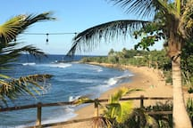 Domes Beach Rincon PR 15 minutes away.  great surfing and beachcombing.  One of Rincon's best.