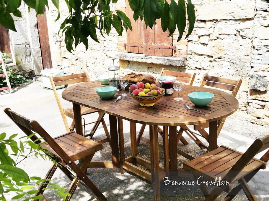 Espace de repas extérieure idéal pour des petits déjeuners au vert