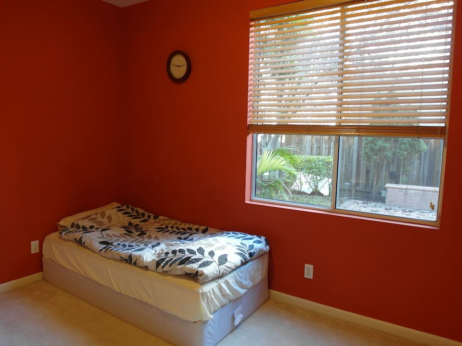 Room with twin bed, simple but comfortable