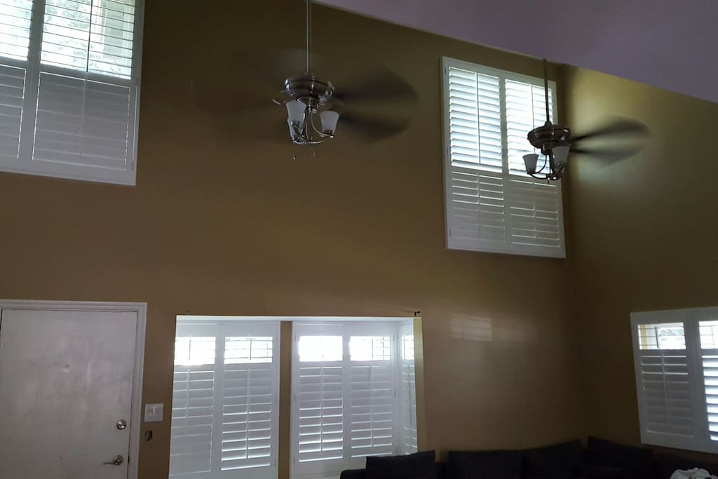 Vaulted Ceilings with Natural Lighting. Both AC and Ceiling Fans to Circulate cool Air.