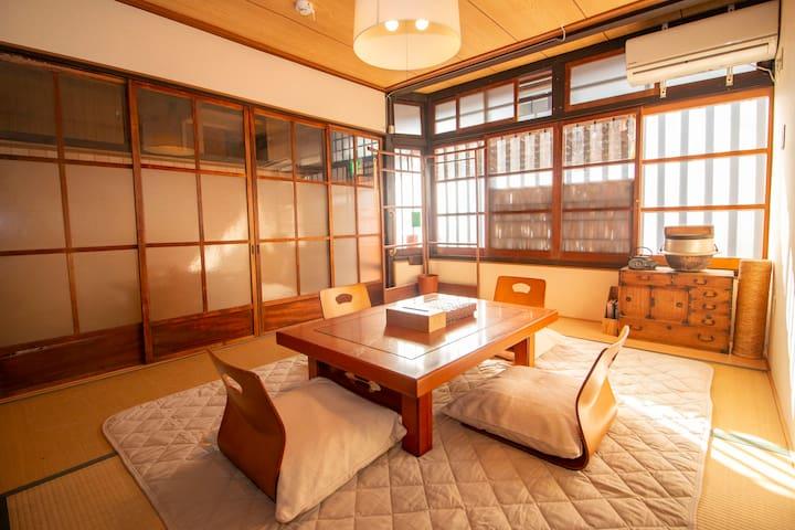 Near Nijo castle Traditional Japanese style house.