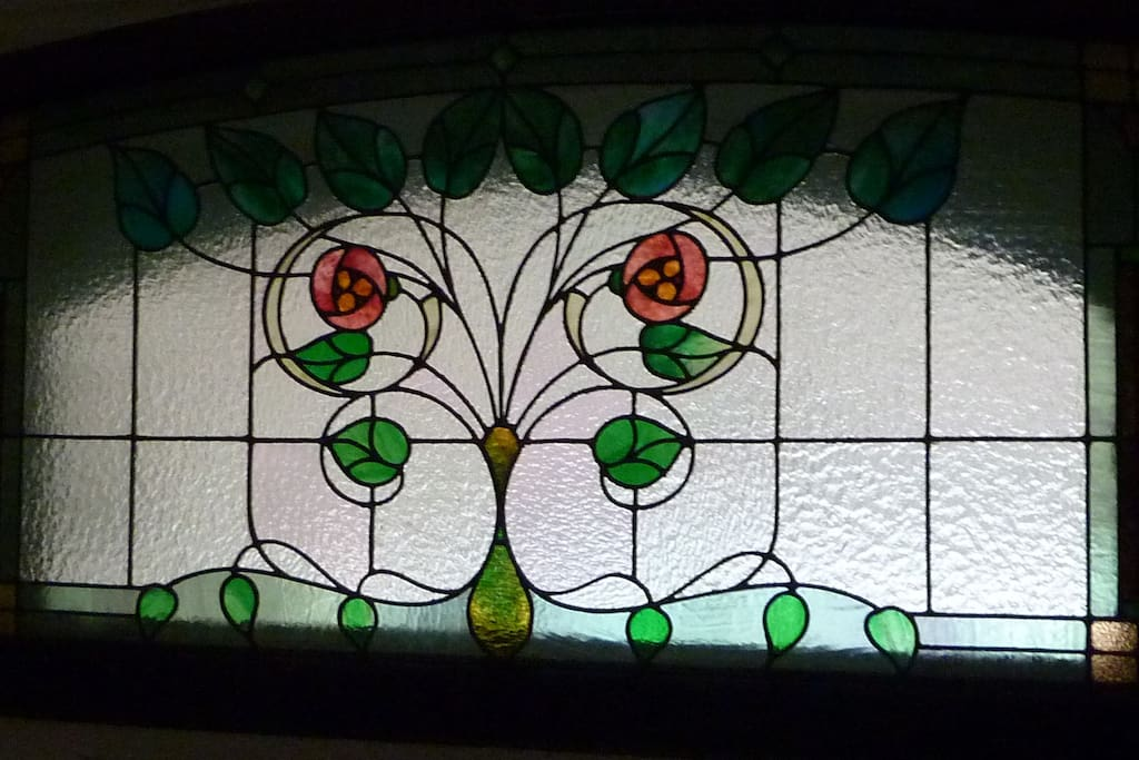Vintage stained glass greets you!