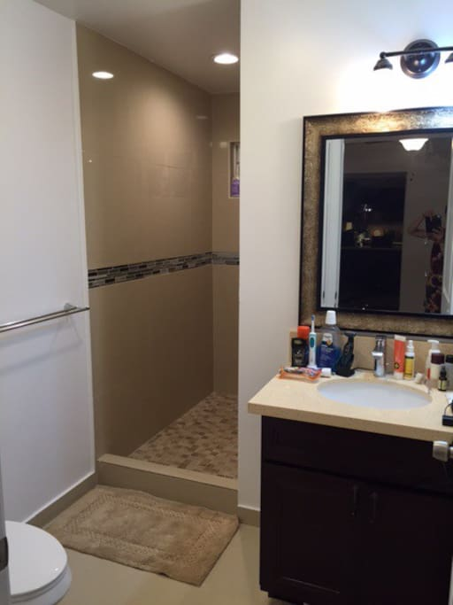 This is a clean bathroom