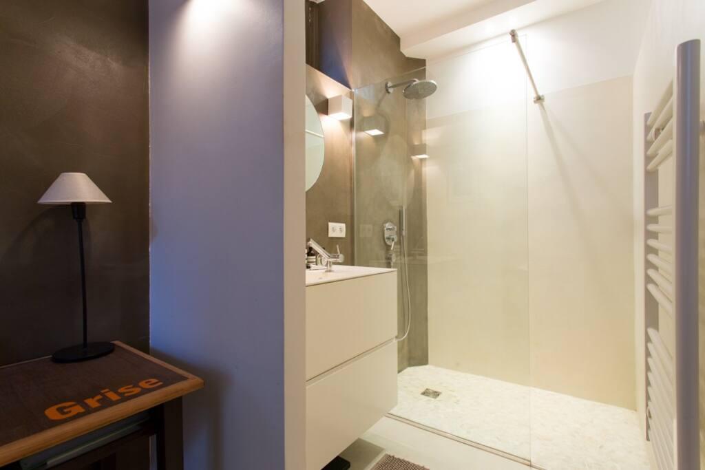 Douche à l'italienne, radiateur sèche- serviette