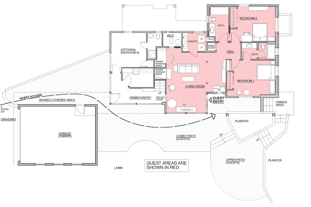 Aspen 2 Bedroom Suite shown in red is 900 square feet of private living space.