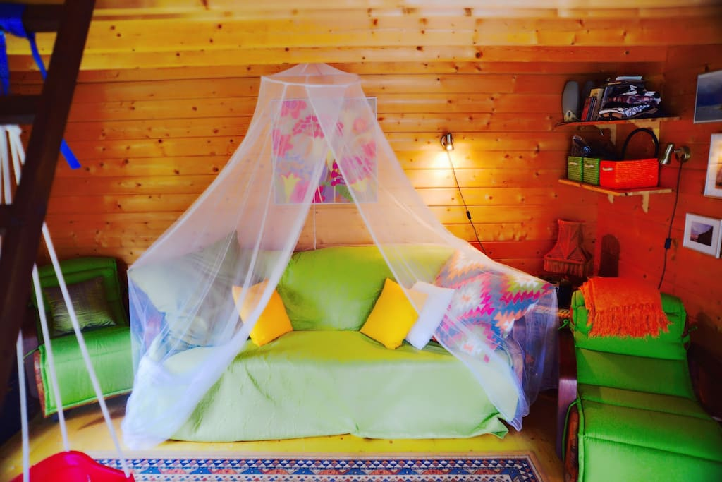 """Living room of the """"main"""" house comes with a fold out couch (sleeps two) and a loft with air mattress that also sleeps two. Perfect to house a small family."""