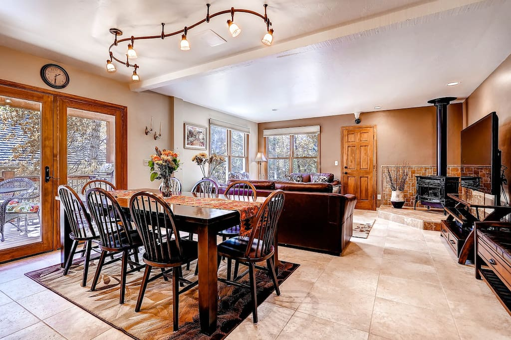 Raven's Call Main Level features open floor plan with Living Area, Dining and Kitchen