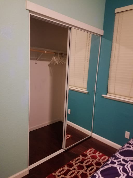 View of closet; hangers provided
