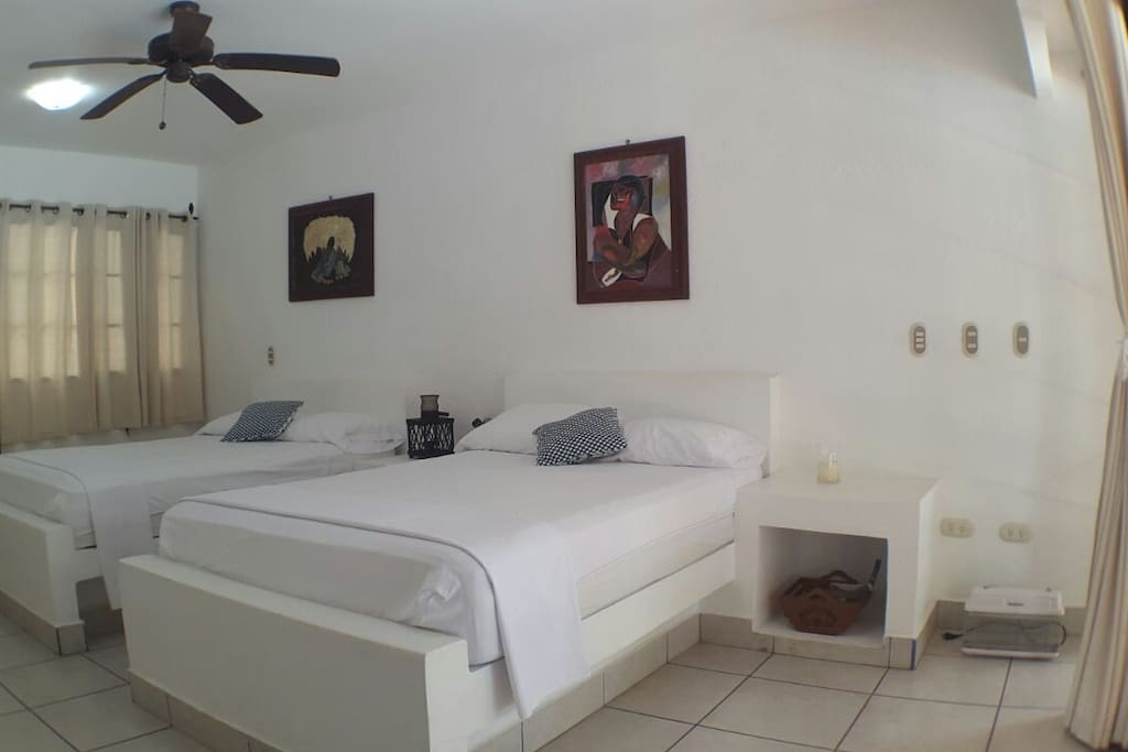 Two queen beds, Up tp 4 people occupancy.