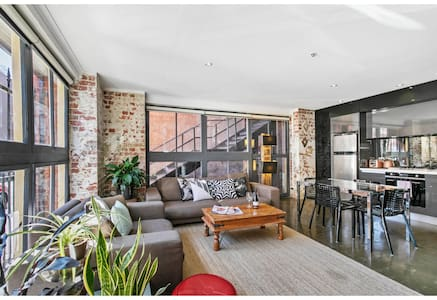 Chic warehouse apartment in hipster, foodie hub