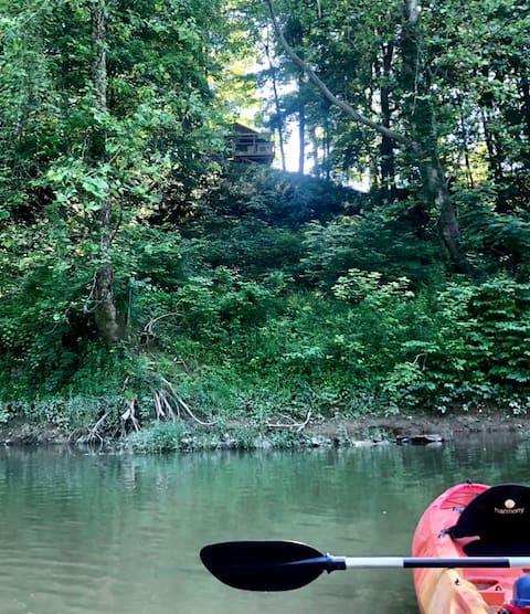 CABANA à beira do rio + vista, floresta, pesca e tranquilidade