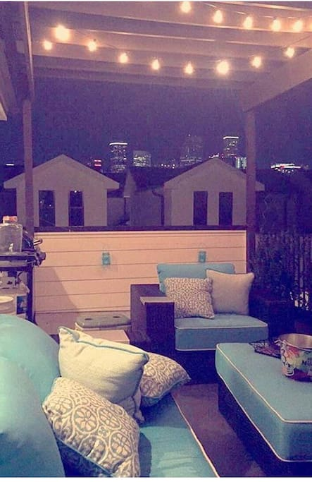 View of Houston Skyline on the beautiful and comfortable rooftop terrace