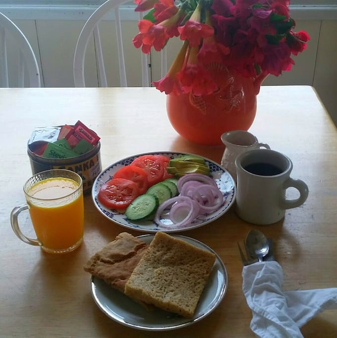 This breakfast of handmade gluten-free vegan ciabatta, organic tomatoes, cucumbers, red onion, and avocado, freshly-squeezed orange juice and coffee is available with advanced notice for $18.