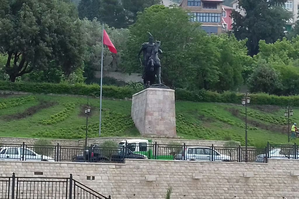 The Scanderbeg monument from the window