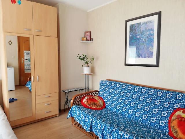 A double sofa bed, a wardrobe