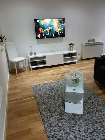 sitting room with smart tv
