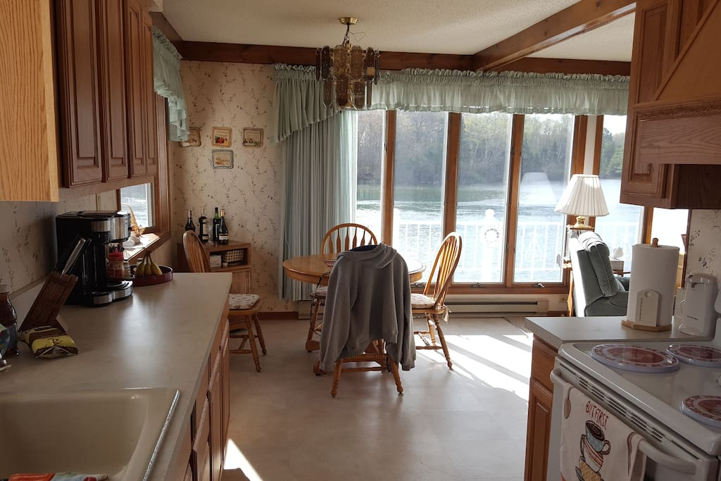 Kitchen and dining Area looking over the river