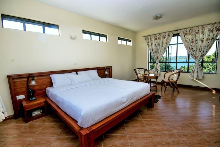 En suite bedroom with double bed.