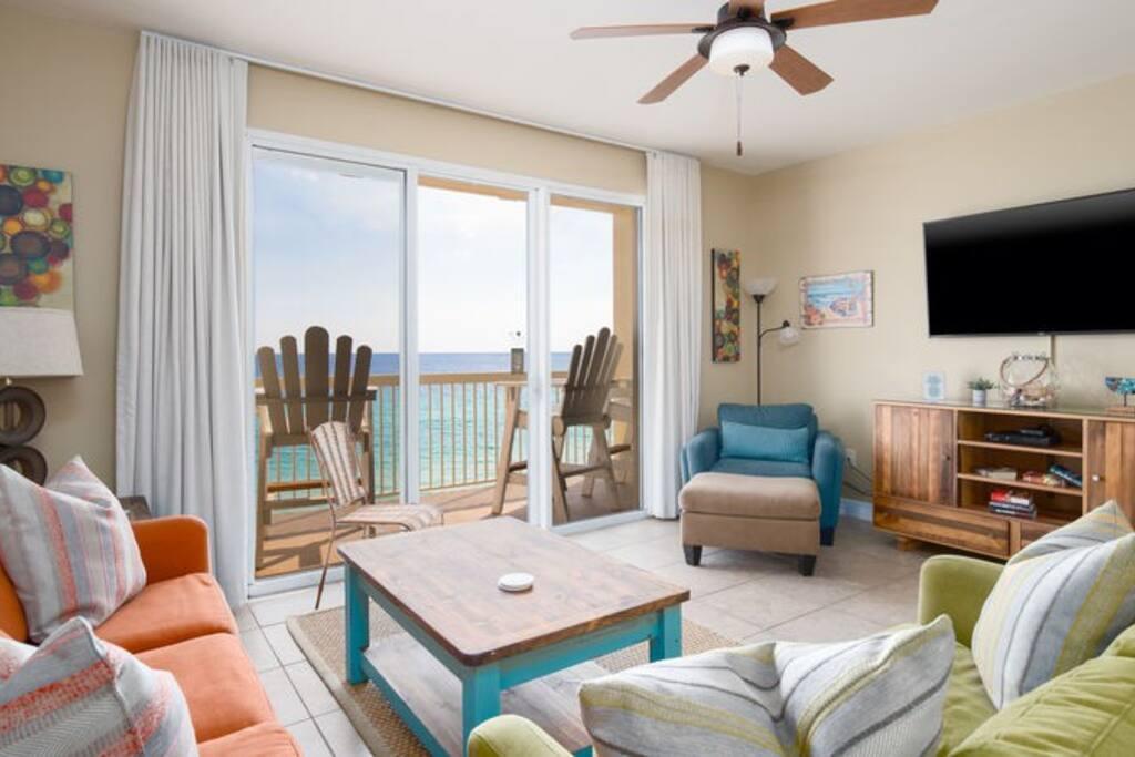 Celadon Beach Resort 707 is a low floor condo with floor to ceiling glass doors