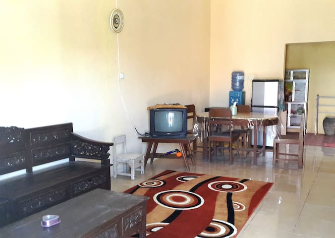 Living Room / Guest Room with dining room : -  dining set [ 4 chair + 1 dining table ] -  water [free flow] -  refrigerator