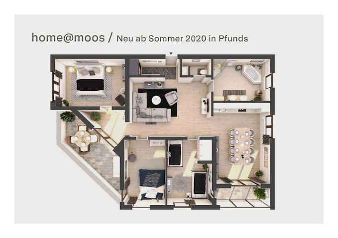 Neue Ferienwohnung für 2-6 Personen /Home at Moos