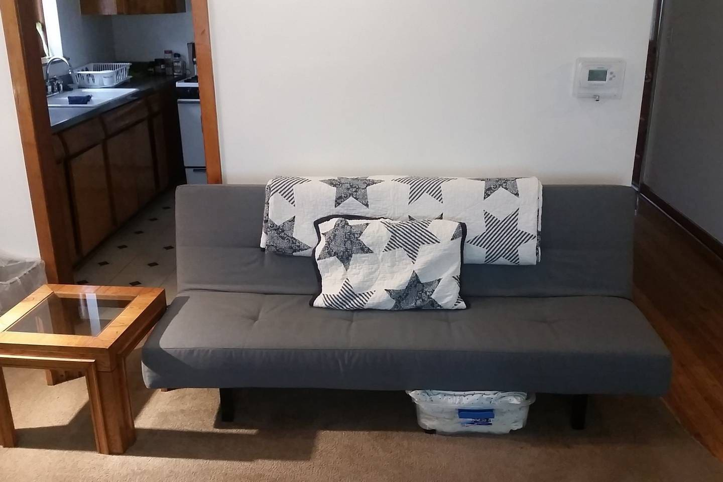 The twin sized futon booked with this listing.