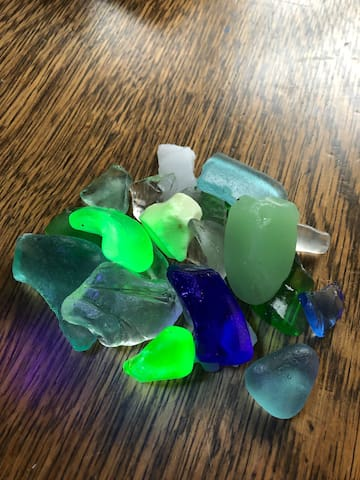 Beach glass treasures found in the bay in the summer and fall