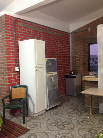 Kitchenette with town view
