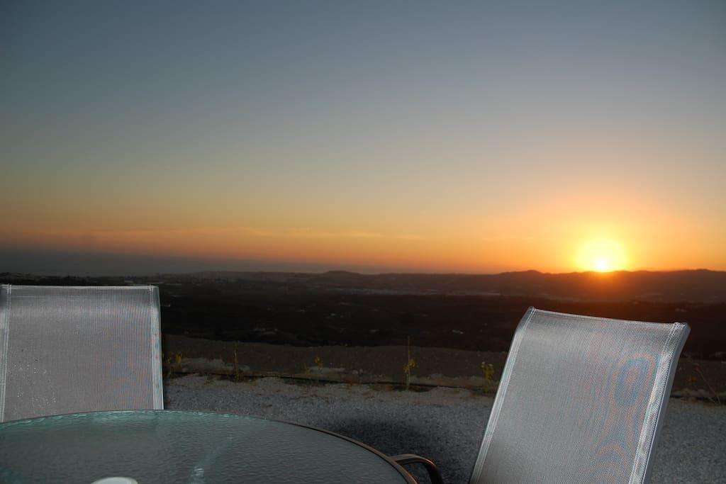 Sonnenuntergang vor dem Mobilheim