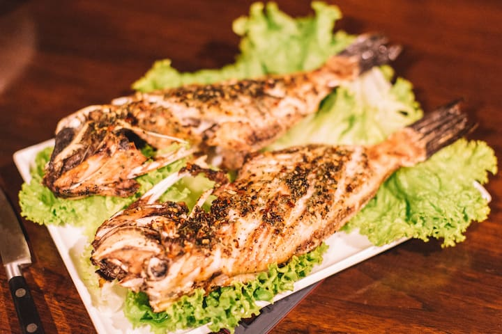 Fresh from the sea in front... grilled fish