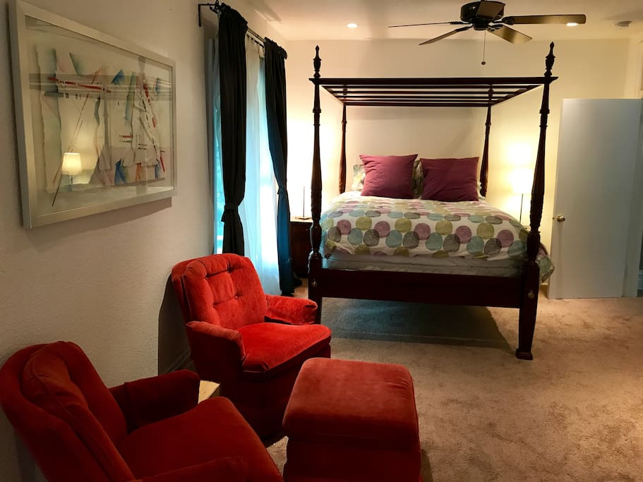 Queen bedroom #1, located in private suite of rooms upstairs.