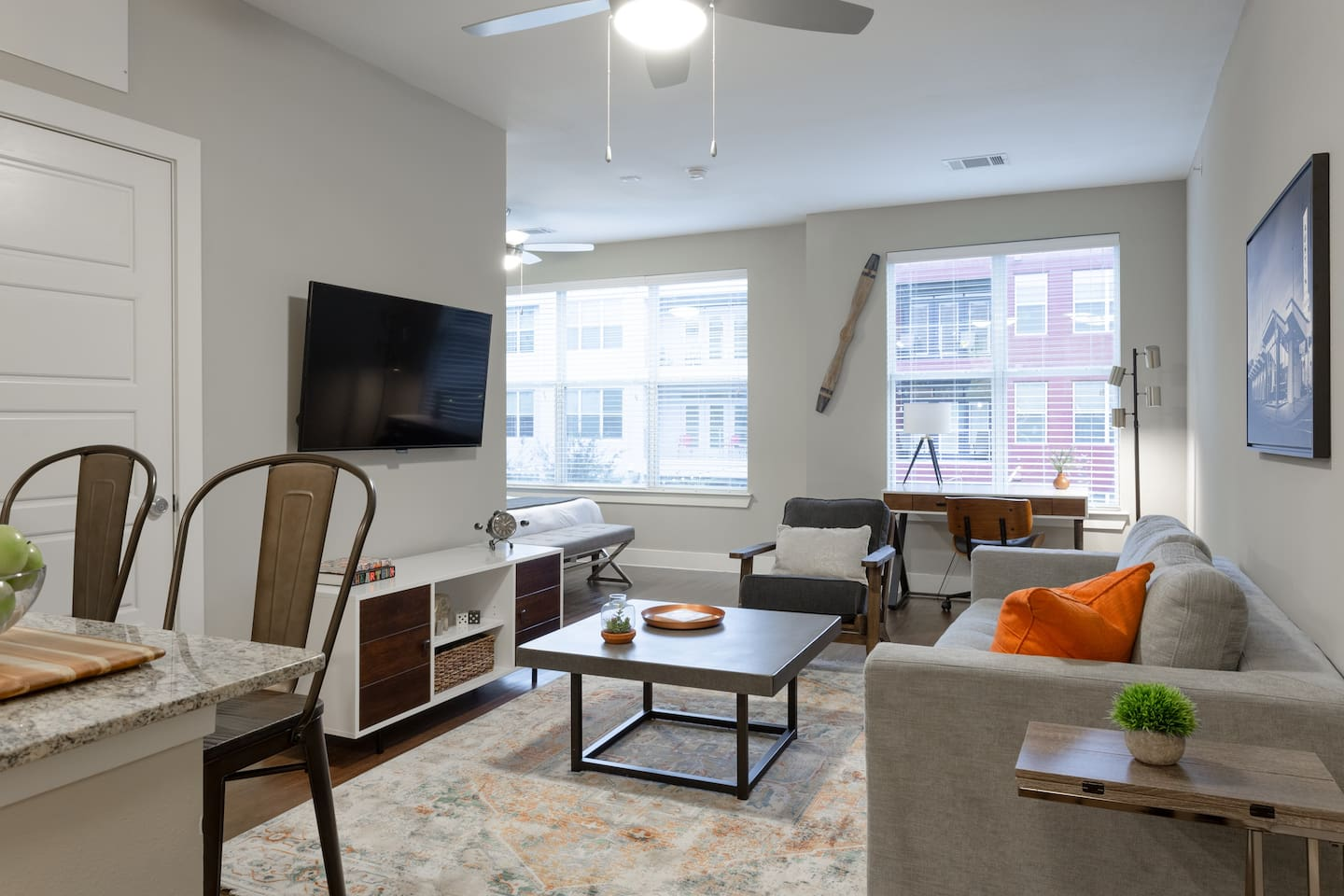 Stylishly furnished studio apartment located in Mueller, a  Live/Work/Play/Shop master planned community