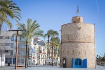 The famous 10th-century tower is one minute's walk from our house, at the corner of Passeig Marítim and Rambla de Lluis Companys.
