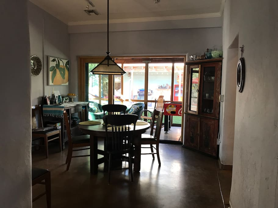 view of dining room and porch