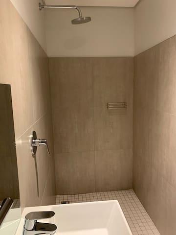 Bedroom 2 en-suite with a walk in shower and toilet.