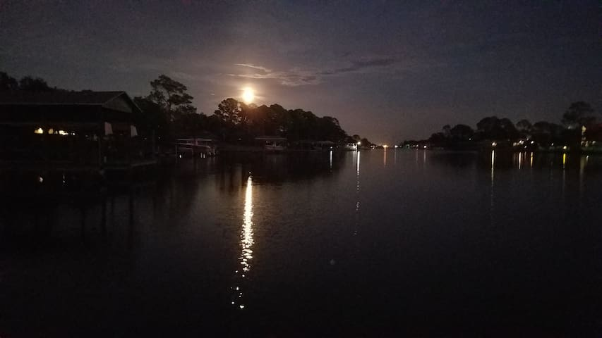 Lagoon at night from dock