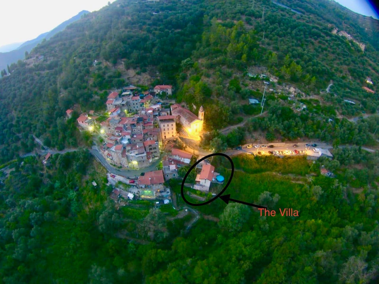 Trinita village from on high with great view of the Villa