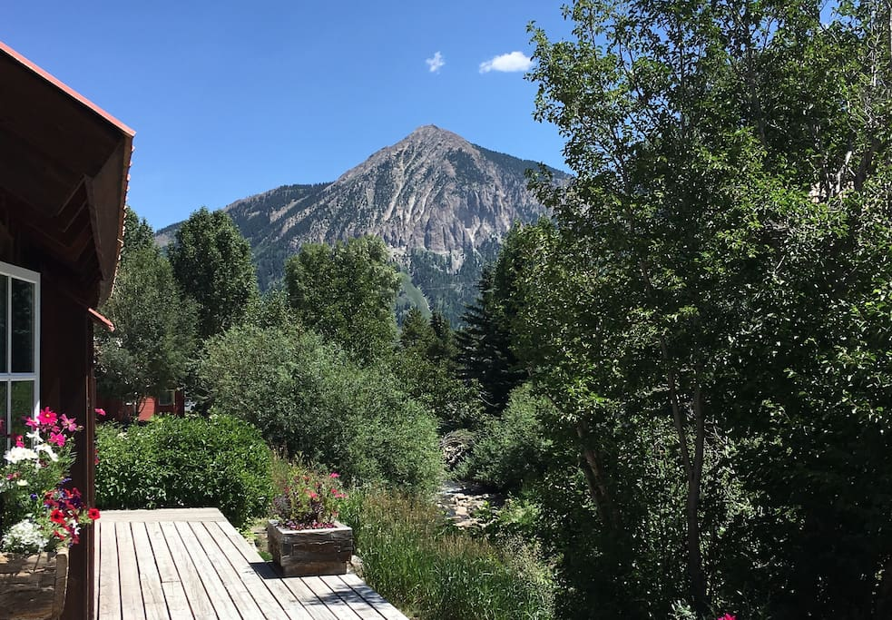 Great views of Mt. Crested Butte from the deck and from inside, too.