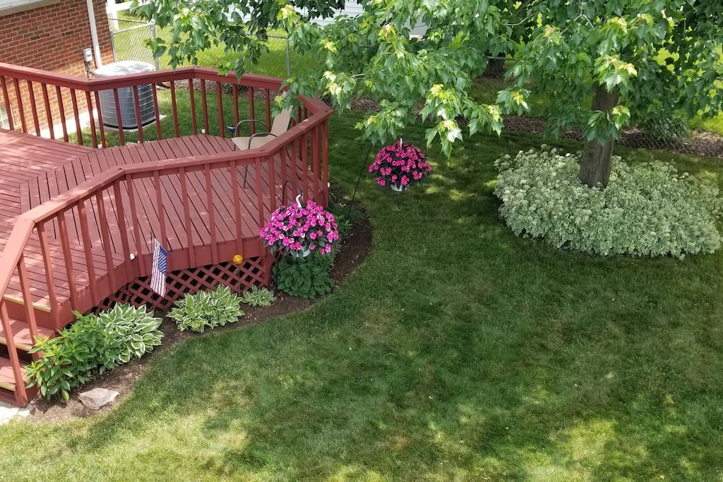 glimpse of deck and back yard