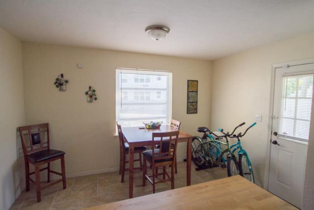 Dinning area with bikes included