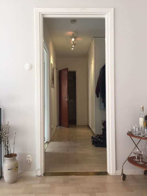 Hallway from the living room to the kitchen and bedroom.