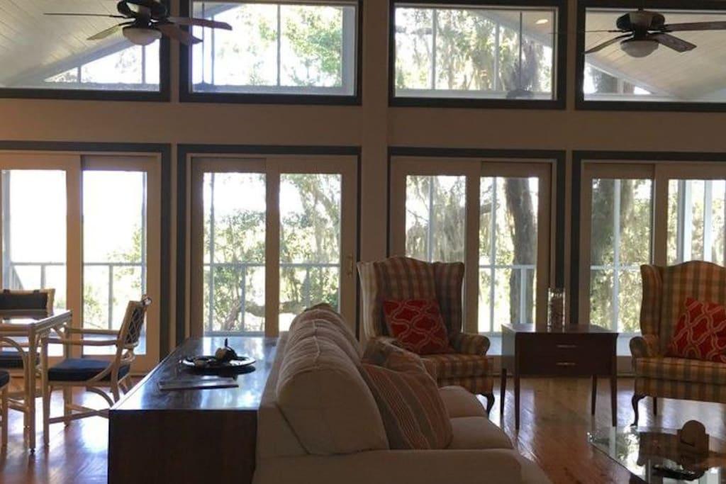Large windows overlooking the marsh