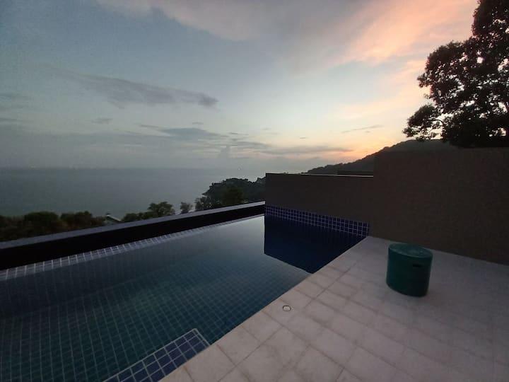 2 chambres 6 lits, vue sur mer avec piscine privée