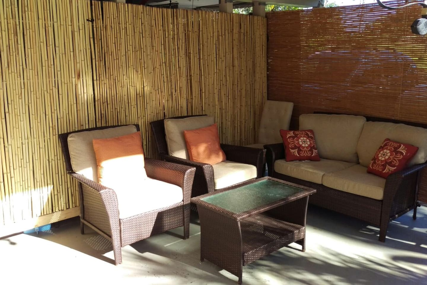 Outdoor covered patio is a comfy place to kick back and enjoy the view
